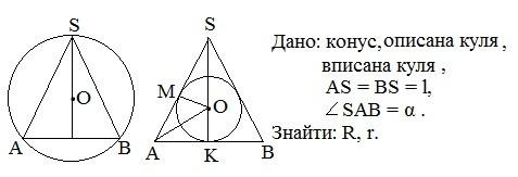 Задача (Обчислення радіусів вписаної та описаної навколо конуса куль)